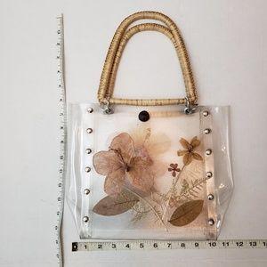 Vintage Bags - Vintage Clear Pressed Flowers Straw Handle Bag